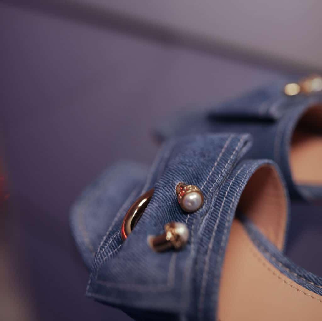 nappa effetto denim sandali baldinini