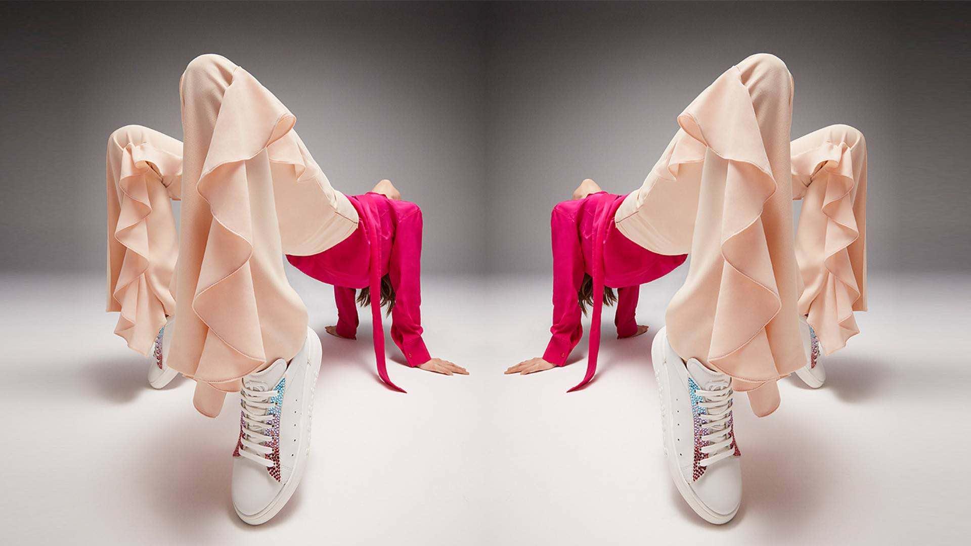 scarpe bianche e rosa baldinini